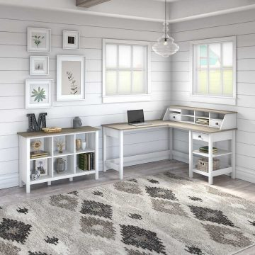 60W L Shaped Computer Desk with Organizer and 6 Cube Bookcase