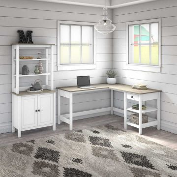 60W L Shaped Computer Desk with 5 Shelf Bookcase