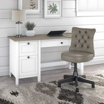 54W Computer Desk with Drawers and Mid Back Tufted Office Chair