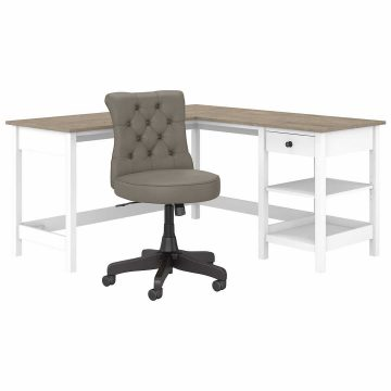 60W L Shaped Computer Desk with Storage and Tufted Office Chair