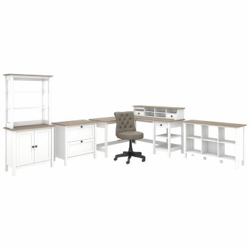 60W L Shaped Computer Desk with Chair and Storage