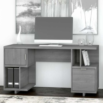 60W Computer Desk with Drawer, Storage Shelves and Door