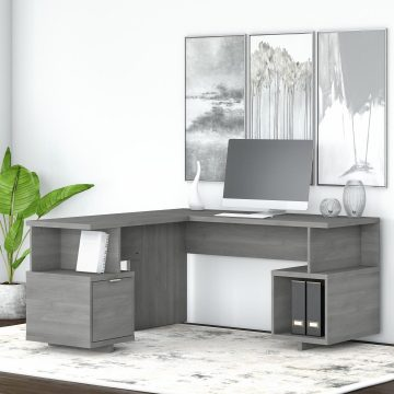 60W L Shaped Desk with Drawer and Storage Cubby