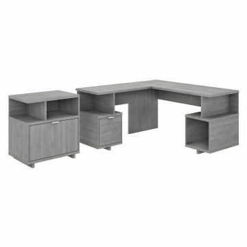 60W L Shaped Desk with Lateral File Cabinet