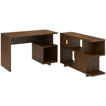 48W Writing Desk with Low Bookcase