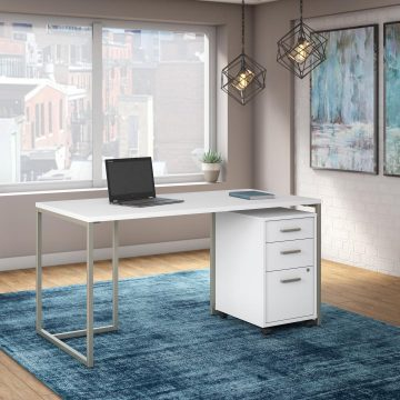60W Table Desk with 3 Drawer Mobile File Cabinet