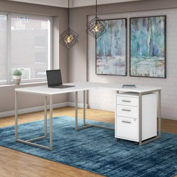 60W L Shaped Desk with 30W Return and Mobile File Cabinet