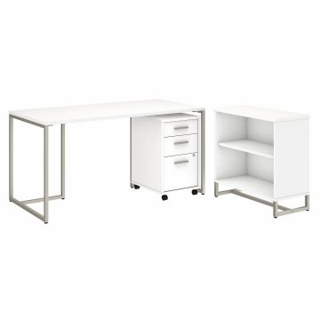 60W Table Desk with Bookcase and Mobile File Cabinet