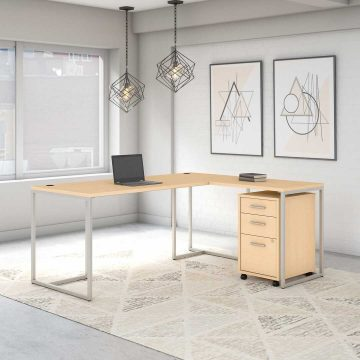 72W L Shaped Desk with 30W Return and Mobile File Cabinet