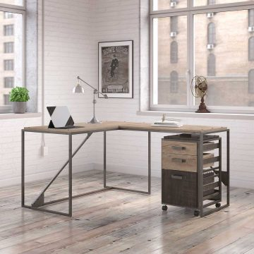 50W L Shaped Industrial Desk with 3 Drawer Mobile File Cabinet