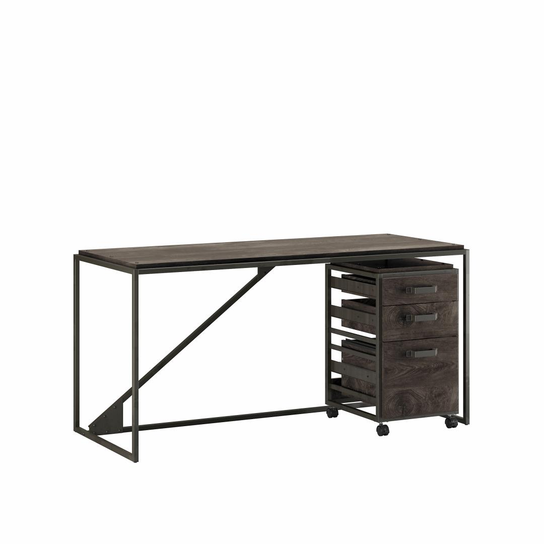 62W Industrial Desk with 3 Drawer Mobile File Cabinet