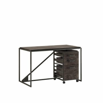50W Industrial Desk with 3 Drawer Mobile File Cabinet