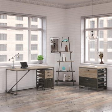62W Industrial Desk with A Frame Bookshelf and File Cabinets