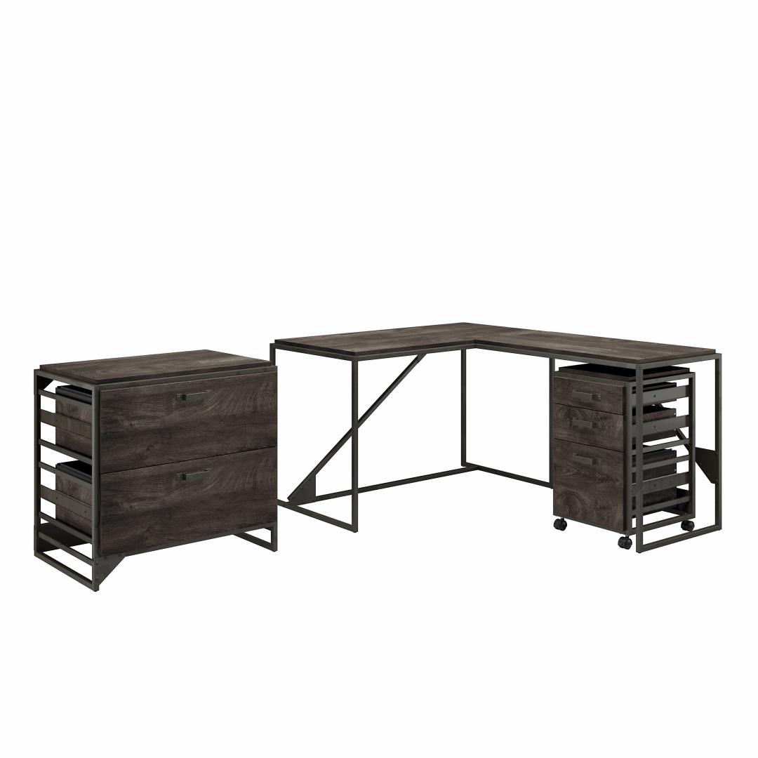 50W L Shaped Industrial Desk with File Cabinets