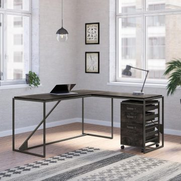 62W L Shaped Industrial Desk with 3 Drawer Mobile File Cabinet