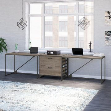 2 Person Industrial Desk Set with Lateral File Cabinet