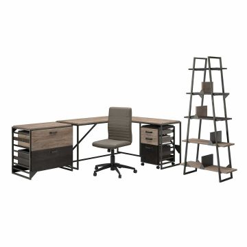 62W L Shaped Industrial Desk and Chair Set with Storage