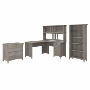 60W L Shaped Desk with Hutch, Lateral File Cabinet and Bookcase