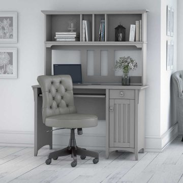 48W Computer Desk with Hutch and Mid Back Tufted Office Chair