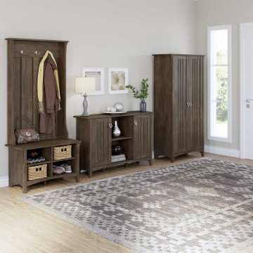 Entryway Storage Set with Hall Tree, Shoe Bench and Accent Cabinets