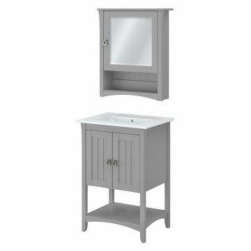 24W Bathroom Vanity Sink and Medicine Cabinet with Mirror
