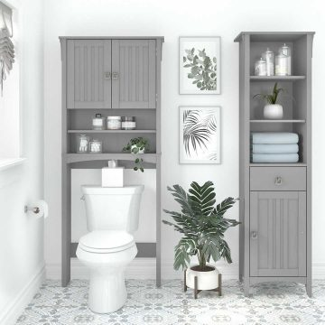 Tall Linen Cabinet and Over The Toilet Storage Cabinet