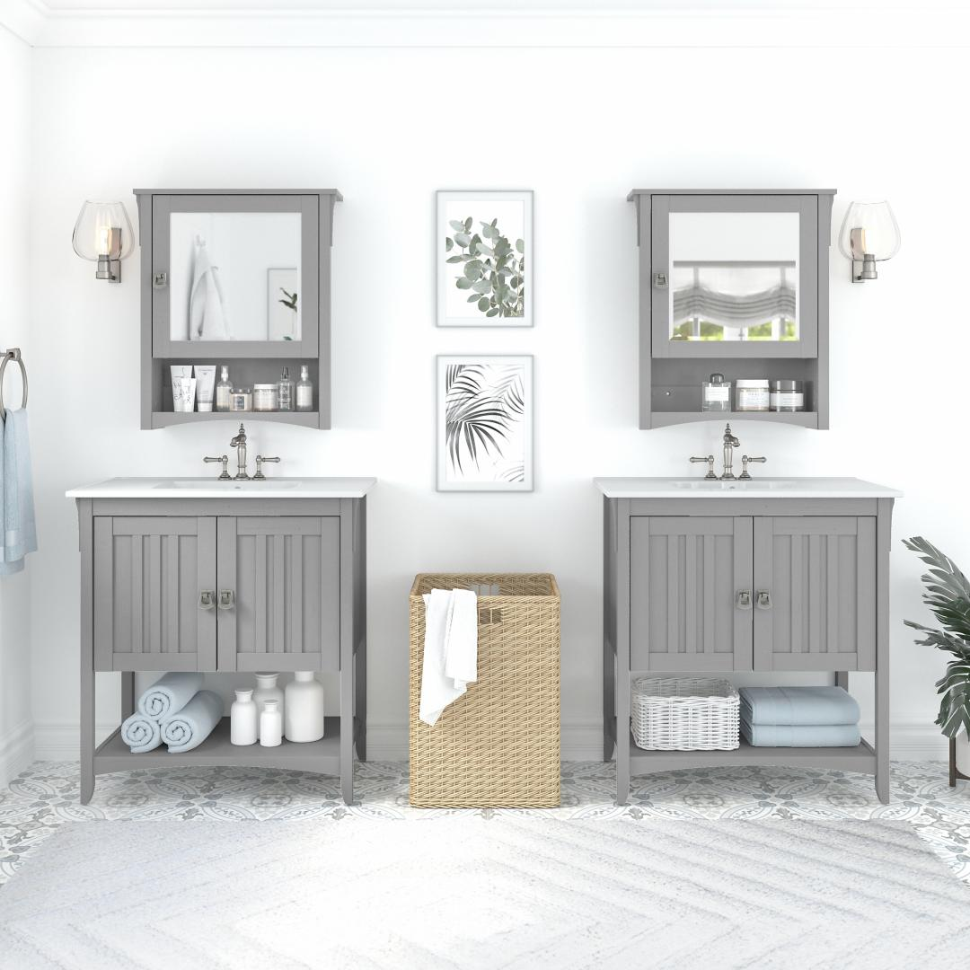 64W Double Vanity Set with Sinks and Medicine Cabinets