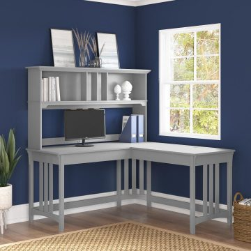 60W L Shaped Writing Desk with Hutch