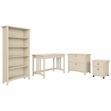 48W Writing Desk with File Cabinets and Bookcase