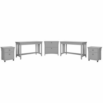 2 Person Desk Set with File Cabinets
