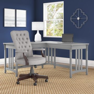 60W L Shaped Writing Desk with High Back Tufted Office Chair
