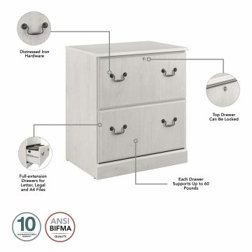Executive Desk with File Cabinet and Bookcase Set