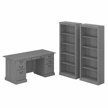 Executive Desk and Bookcase Set