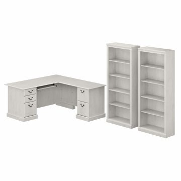 L Shaped Computer Desk and Bookcase Set