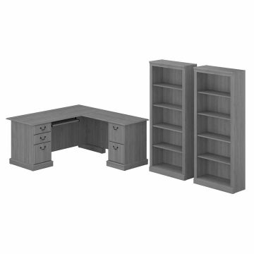 L Shaped Computer Desk and Bookcase Set