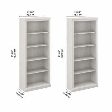 Tall 5 Shelf Bookcase - Set of 2