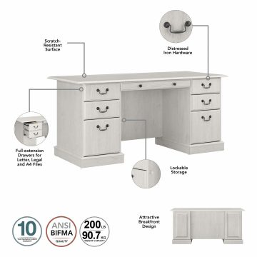 Executive Desk with Drawers and Desktop Organizers
