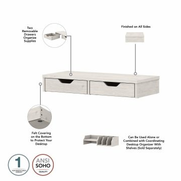 L Shaped Computer Desk with Drawers and Desktop Organizers