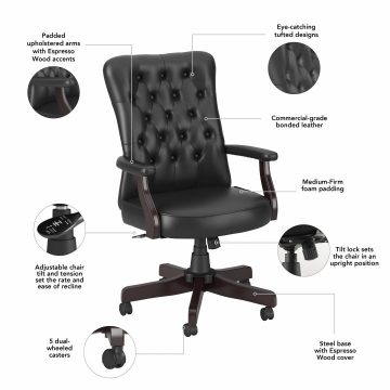 High Back Tufted Office Chair with Arms