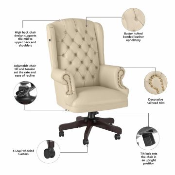 Wingback Leather Executive Office Chair with Nailhead Trim