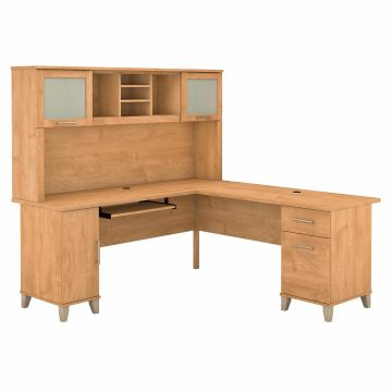 72W L Shaped Desk with Hutch