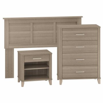 Full/Queen Size Headboard, Chest of Drawers and Nightstand Bedroom Set