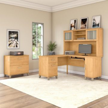 60W L Shaped Desk with Hutch and Lateral File Cabinet