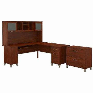 72W L Shaped Desk with Hutch and Lateral File Cabinet