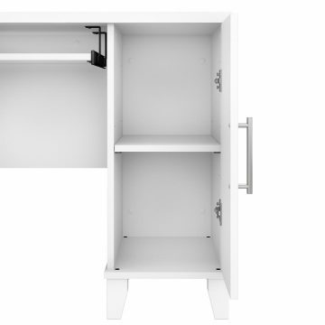 60W L Shaped Desk with Hutch and 5 Shelf Bookcase