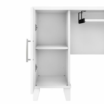 72W L Shaped Desk with Hutch and 5 Shelf Bookcase