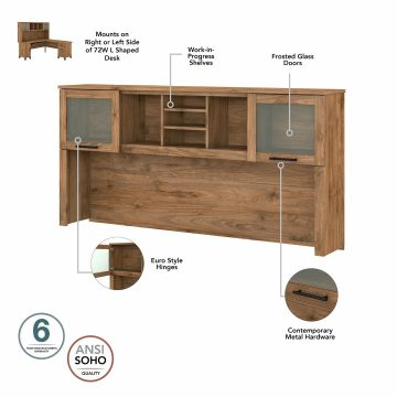72W L Shaped Desk with Hutch, Lateral File Cabinet and Bookcase