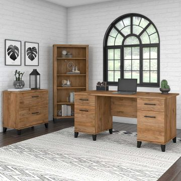 60W Office Desk with Lateral File Cabinet and 5 Shelf Bookcase