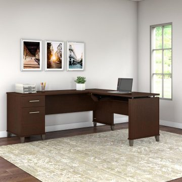 72W 3 Position Sit to Stand L Shaped Desk