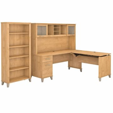 72W 3 Position Sit to Stand L Shaped Desk with Hutch and Bookcase
